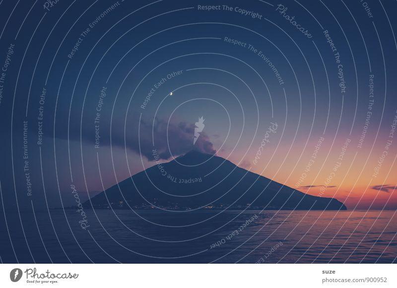 night fire Vacation & Travel Tourism Adventure Expedition Ocean Island Mountain Environment Nature Sky Peak Volcano Coast Smoke Exceptional Dark Fantastic