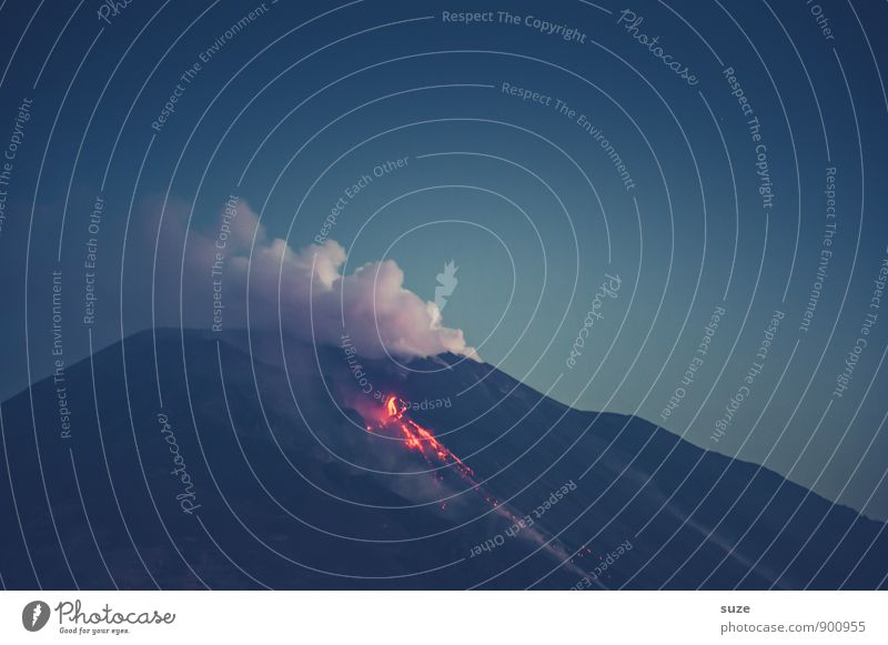 Nature Vacation & Travel Dark Environment Mountain Travel photography Exceptional Wild Fantastic Adventure Fire Peak Italy Hot Smoke Gas