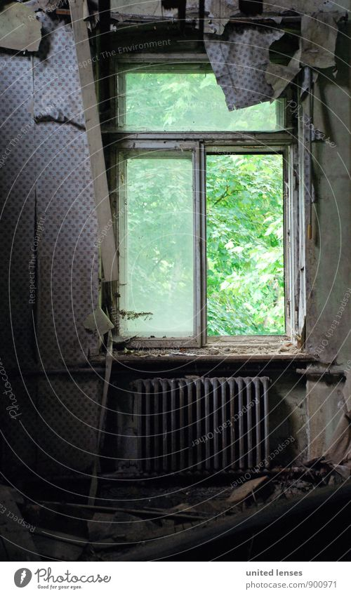 Old Green Dark Window Art Esthetic Derelict Past Shabby Wallpaper Window pane Work of art Heater View from a window Shutter Old building