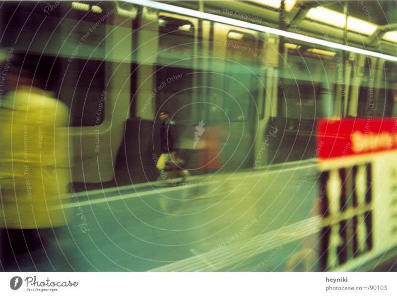 a breeze Haste Multicoloured Speed Underground Driving Reflection Train station Blur Man with bag