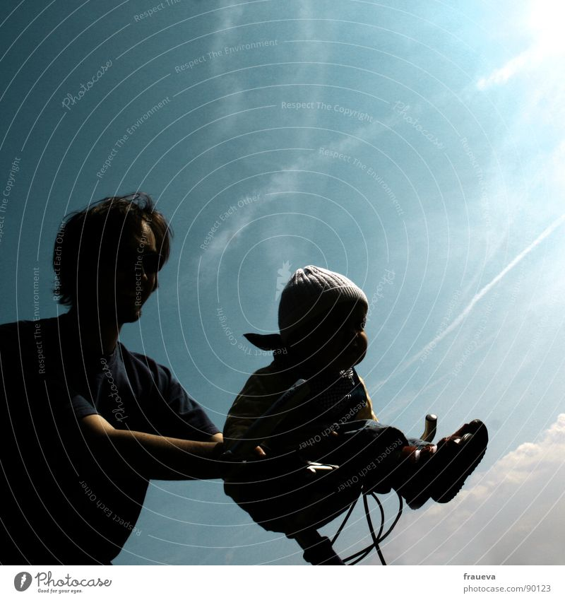 go baby go! Father Baby Cycling Summer Together Contentment Silhouette Joy Trust Human being daughter handlebar Blue Sky fun shadowy Man Father's Day