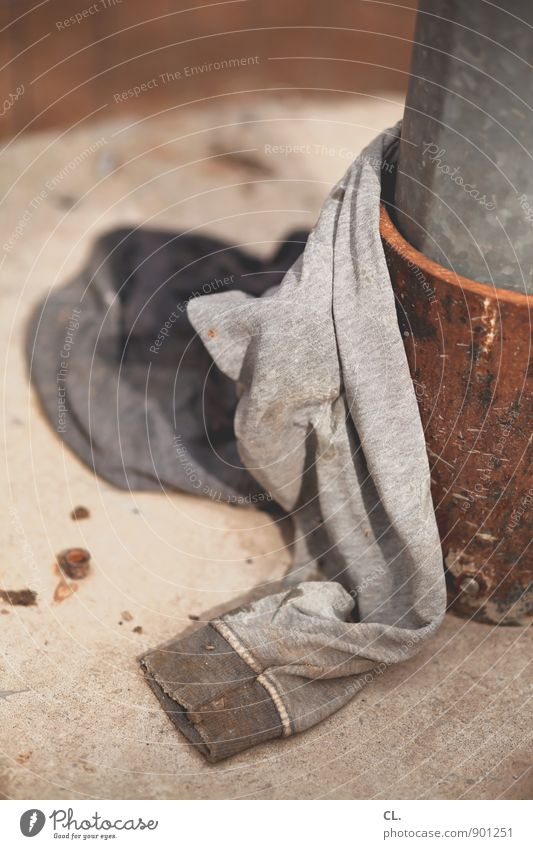 sweater Sweater Bollard Metal Old Dirty Cloth Trash Colour photo Exterior shot Deserted Day Shallow depth of field