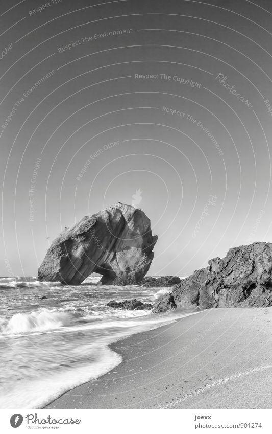 santa cruz Nature Landscape Water Cloudless sky Horizon Beautiful weather Waves Coast Beach Rock Large Black White Bizarre curt Black & white photo