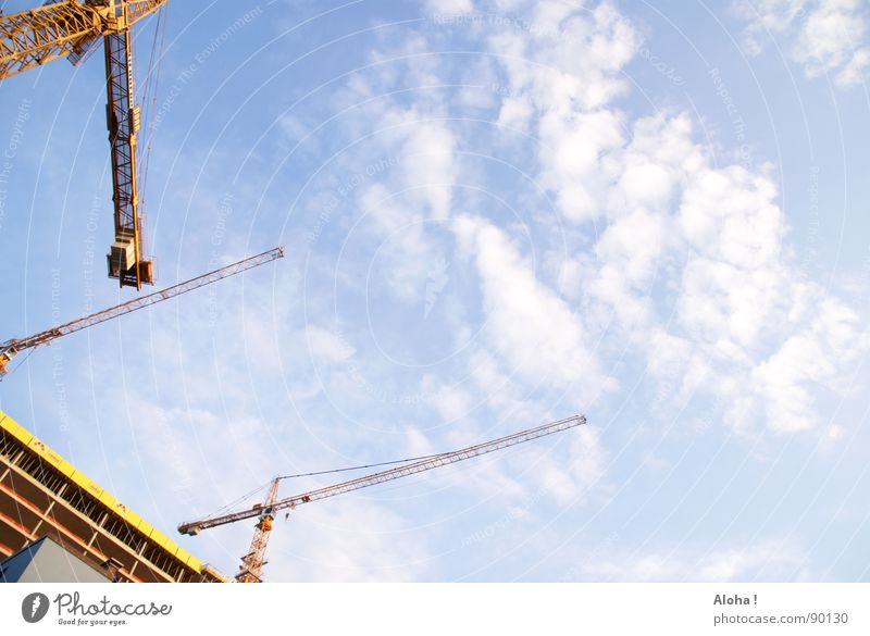 landmark construction site Crane Lifting device Crane operator Construction site Machinery Clouds Rebuild Building House (Residential Structure) Driver's cab