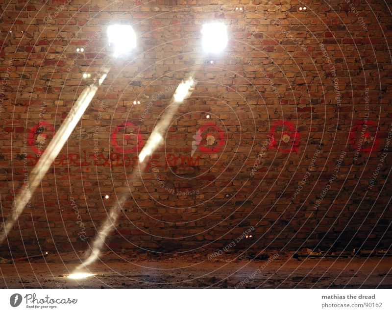 Red Dark Wall (building) Wall (barrier) Warmth Bright 2 Room Dirty Signs and labeling Crazy Derelict Brick Radiation Hollow Dust