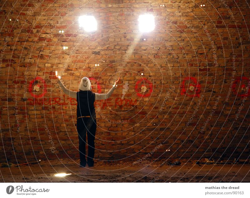 enlightenment Light Sunlight Radiation Sunbeam Dark Wall (barrier) Wall (building) Hollow 2 Dust Dusty Brick Red Dirty Room Awareness Lighting Woman Touch