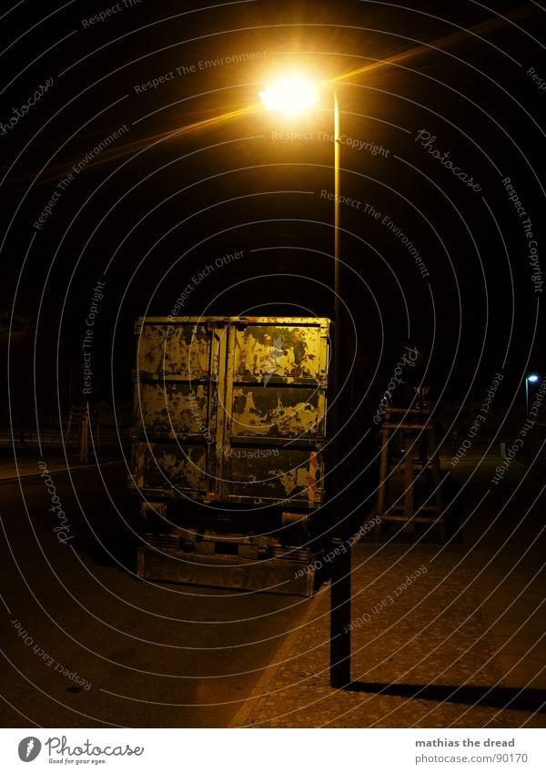 Calm Loneliness Street Dark Death Lanes & trails Transport Empty Asphalt Truck Lantern Sidewalk Traffic infrastructure Parking Street lighting Container