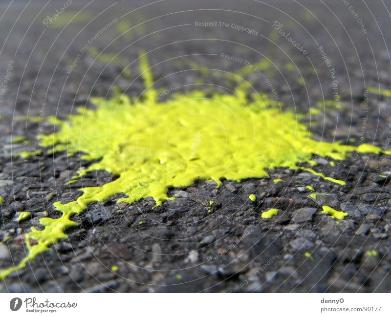 yellow blob Yellow Patch Gray Black Macro (Extreme close-up) Close-up Floor covering Street Colour Painting (action, work)