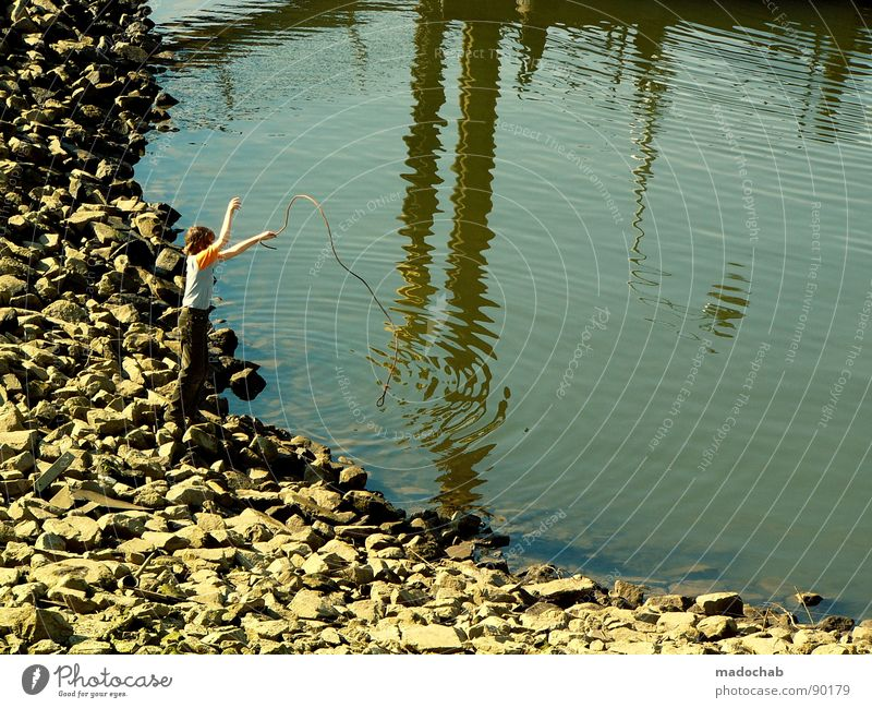 Human being Water Summer Joy Playing Stone Lake Rope Leisure and hobbies Harbour Pond Fishing (Angle) Basin Angler Childlike Childish
