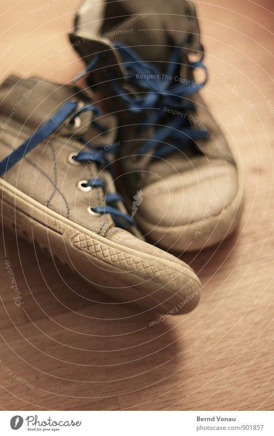 veteran Infancy Feet Clothing Leather Footwear Wood Small Blue Brown Yellow Gray Shoelace Floor covering Shoe sole Dirty Old Colour photo Interior shot Detail