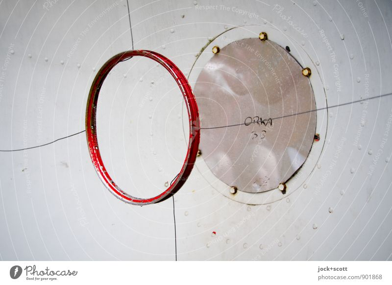 Detail of a parabolic antenna Telecommunications High-tech Information Technology Dish antenna Screw Iron plate Wire Digits and numbers Circle Word Simple Round
