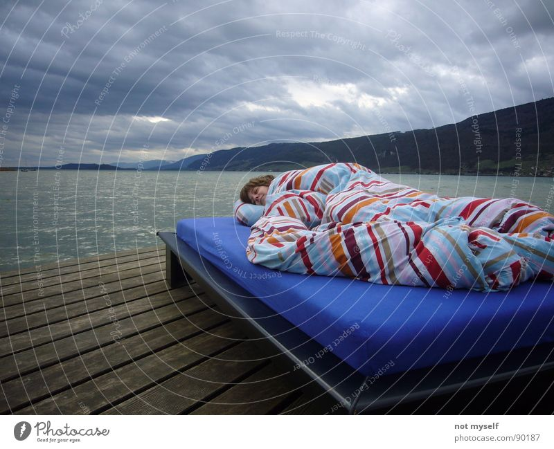 dreaming away Bed Sleep Dream Footbridge Wood Lake Clouds Water Jurassic system Mountain Lake Biel Weather Sun Exterior shot