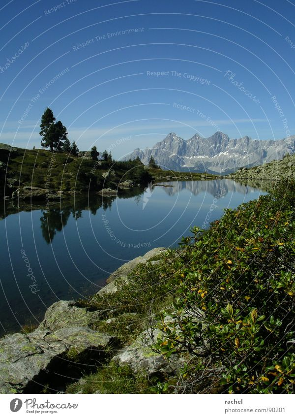 Sky Vacation & Travel Loneliness Calm Relaxation Landscape Mountain Lake Rock Hiking Trip Break Clarity Idyll Alps Peak