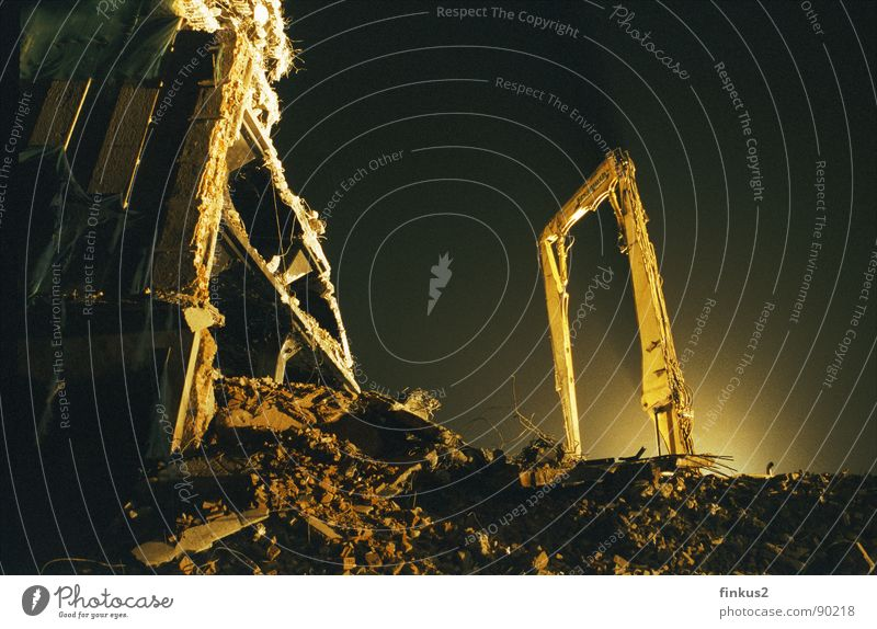 Threat Transience Broken Dresden Ruin Dismantling Rip Excavator Building rubble Night shot Building for demolition Saxony