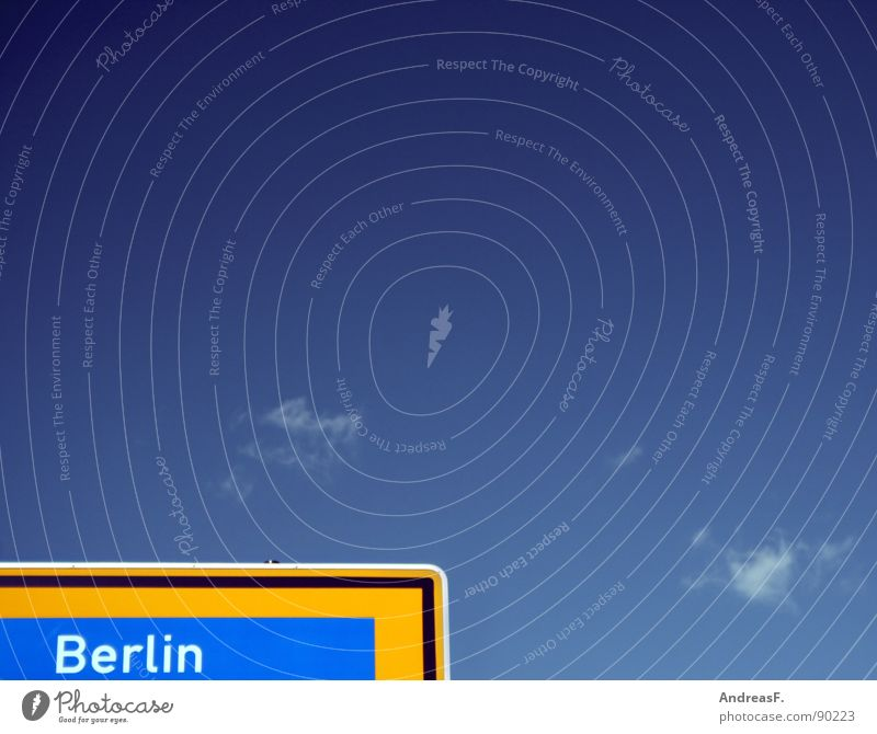 Sky Blue City Street Berlin Germany Signs and labeling Highway Direction Capital city Government