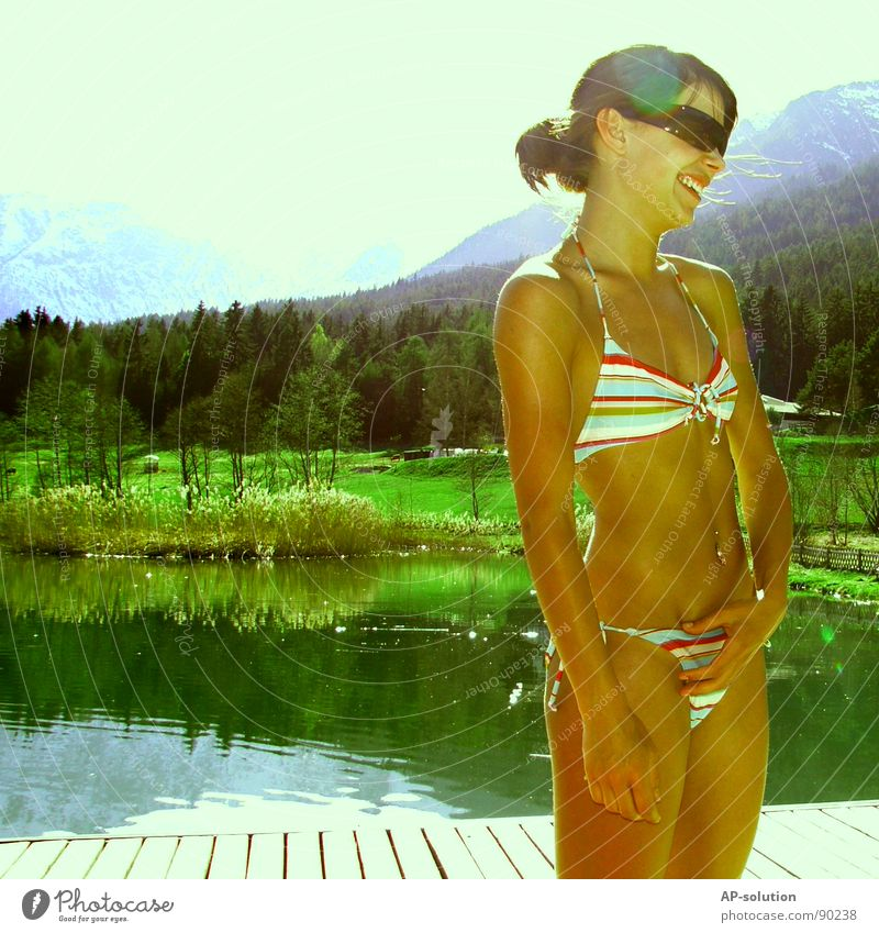 she wore an ... Bikini Woman Spring Summer Well-being Sun Sky blue Spring fever Emotions Style Federal State of Tyrol Spirited Eyeglasses Sunbathing Laughter
