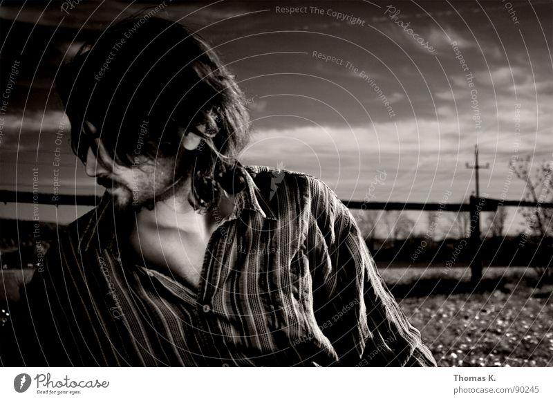 Sky White Clouds Meadow Emotions Sadness Shirt Partner Fence Facial expression Monochrome