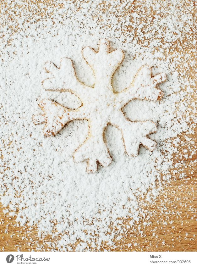 biscuits Food Dough Baked goods Nutrition Christmas & Advent Winter Ice Frost Snow Snowfall Delicious Sweet White Snow crystal Cookie Christmas biscuit