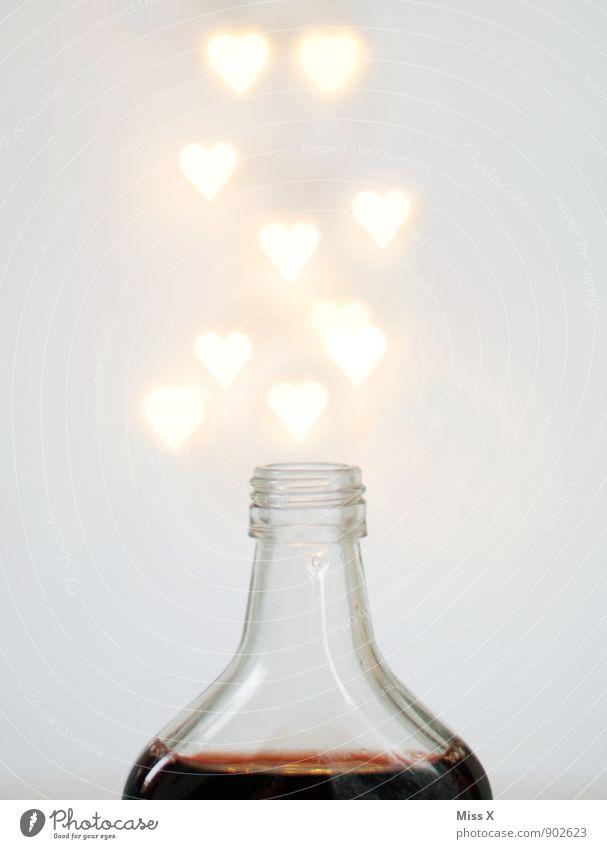magic potion Beverage Spirits Bottle Intoxicant Alcoholic drinks Drinking Glass Heart Flying Glittering Illuminate Emotions Moody Love Infatuation Alcoholism
