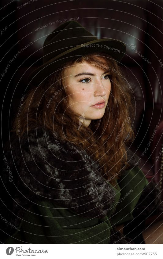 portrait Fashion Hat Hair and hairstyles Emotions Moody Portrait photograph Fur coat Hunting Wild ronja daughter of a robber Nature Noble Luxury Mole