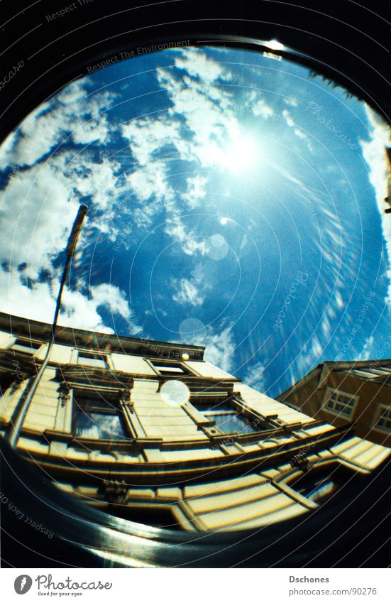 home Happy Summer Sun Sky Town Old town Facade Street Adventure Wuppertal Summer's day Skyward dschones Lomography Fisheye Looking