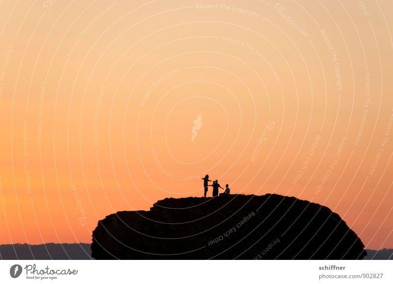 Group feeling | in red Human being 3 Landscape Cloudless sky Sunrise Sunset Beautiful weather Rock Mountain Orange Red Evening Evening sun Dusk Hill Flying