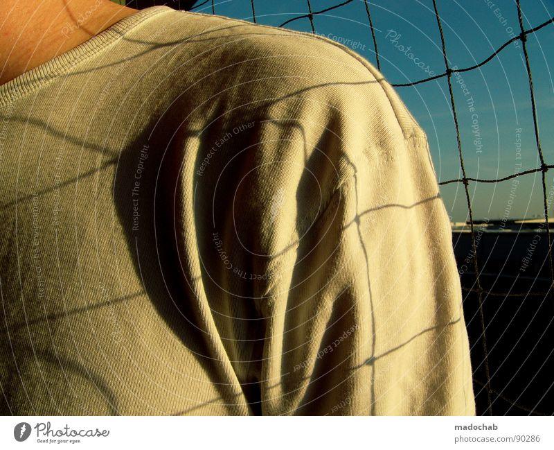NETZHAUT III Upper body Masculine Man Human being Grating Grid White Abstract Safety boy Net Shadow nice Arm T-shirt
