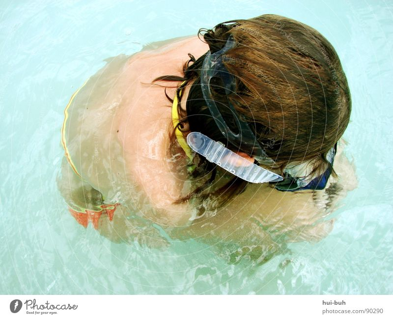 Cold. Dive Girl Diving goggles Eyeglasses Breathe Air Clean Spit Vacation & Travel Stick Wet Physics Oxygen Emerge Dream Cot Calm Bla Splash of water Crocodile