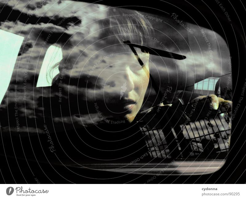 Human being Woman Sky Clouds Face Emotions Think Uniqueness Mirror Science & Research Mystic Identity Self portrait Character Release