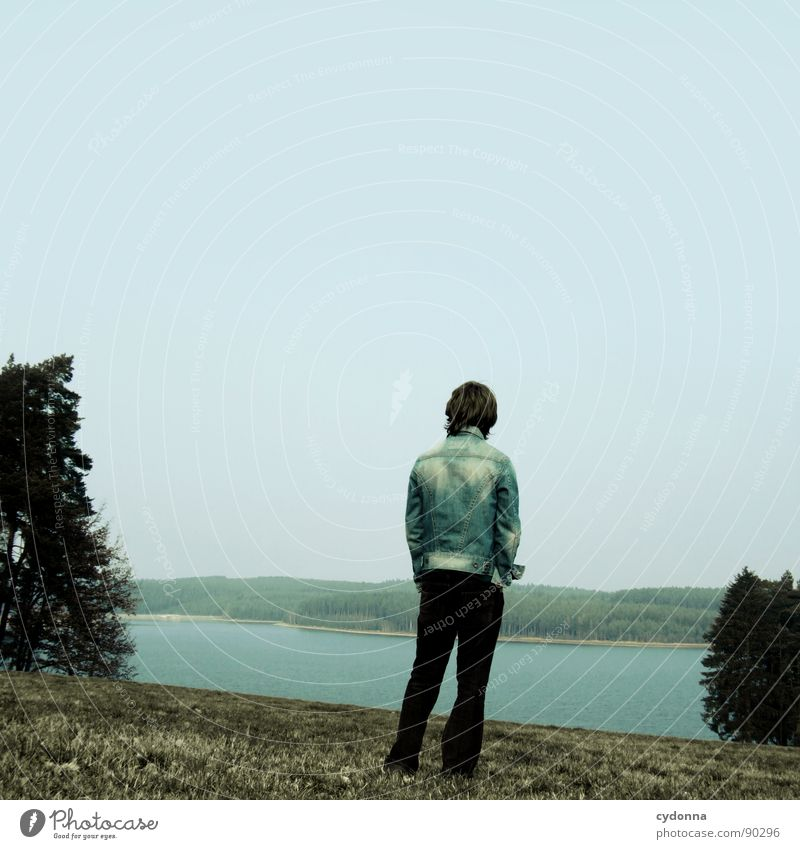 Human being Sky Man Nature Blue Loneliness Far-off places Landscape Meadow Emotions Freedom Sadness Lake Think Going Stand