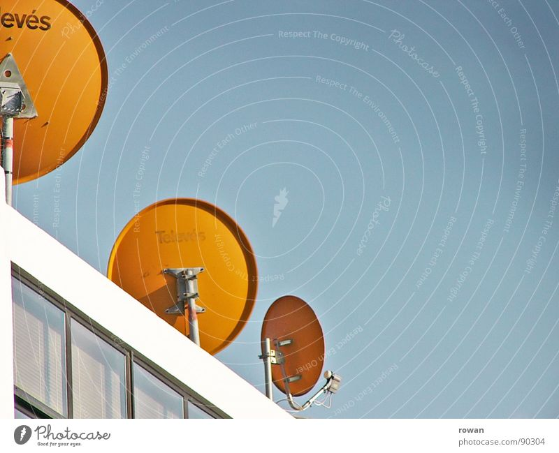 Sky Orange Waves Facade Circle Roof Round Technology Communicate Television Connection Plate Radio (broadcasting) Antenna TV set