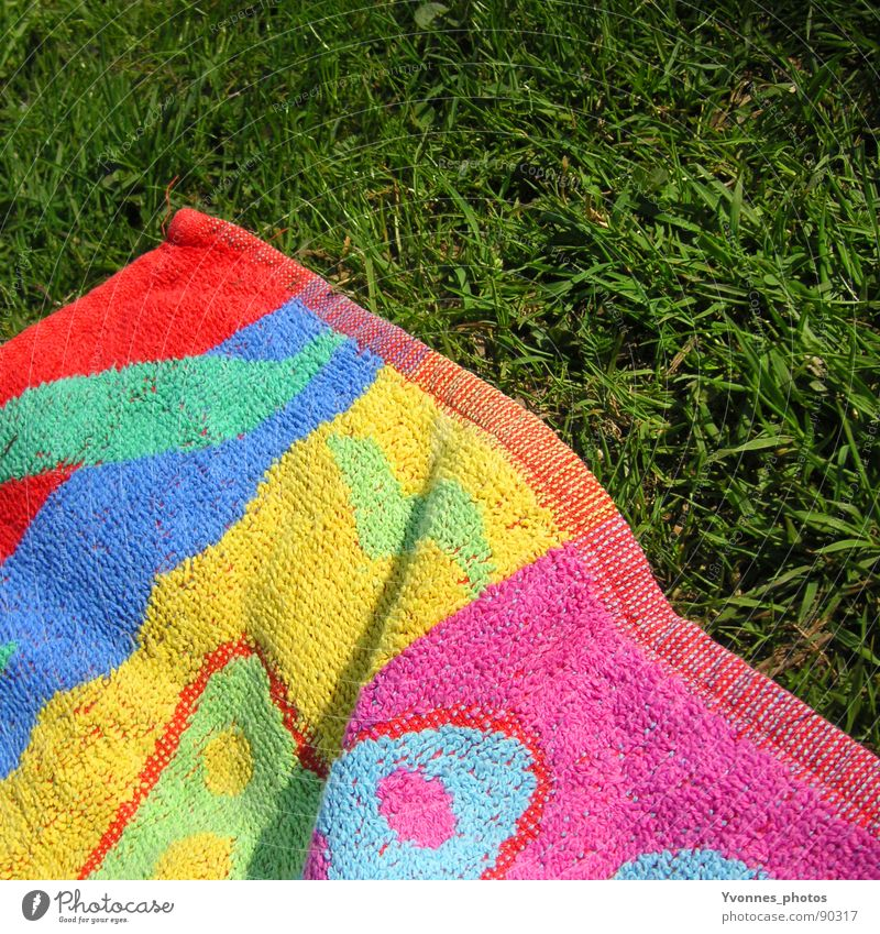 summer Grass Green Multicoloured Towel Bath towel Summer Summery Grass green Meadow Spring Sunbathing Beach Vacation & Travel Lake Baggersee Relaxation