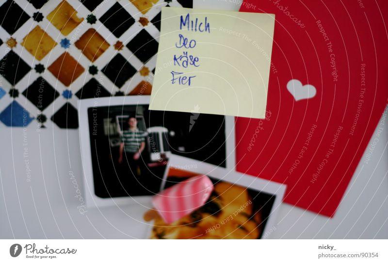 i <3 my kitchen-kitsch Pink Mail Piece of paper Musical notes Icebox Mosaic Black Magnet Colour Card Image notitz fridge icecream nicky