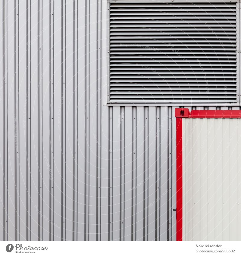 Red Wall (building) Architecture Wall (barrier) Building Gray Background picture Line Metal Facade Design Technology Simple Stripe Industry Logistics