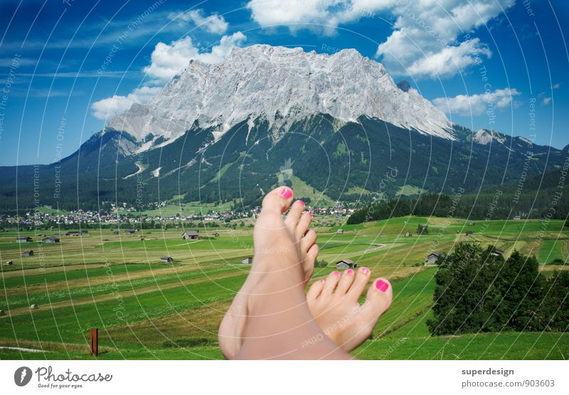 my point of view Happy Fitness Relaxation Calm Meditation Tourism Summer Summer vacation Mountain Hiking Closing time Feet Nature Sky Clouds Rock Peak