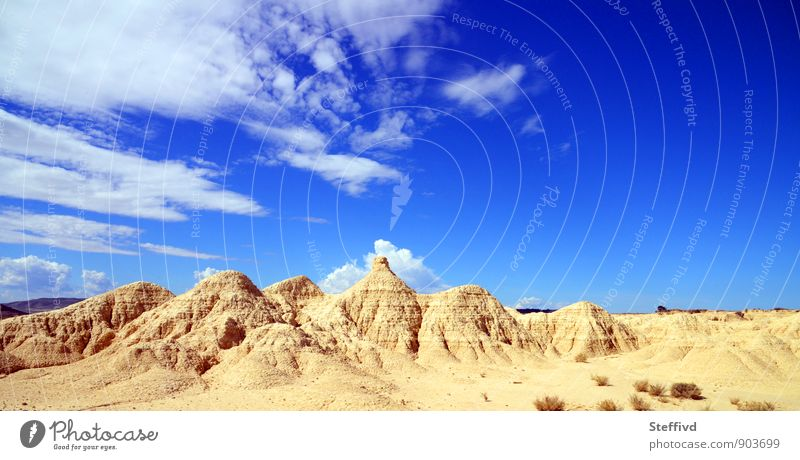 Bardenas real Hiking Landscape Sand Sky Clouds Horizon Summer Warmth Drought Rock Mountain Canyon Desert Thirst Wanderlust Loneliness Adventure