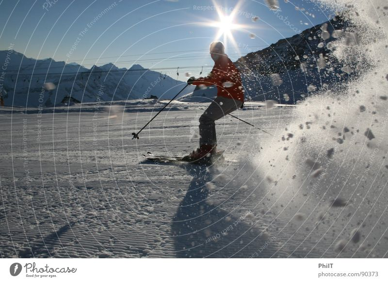 Sun Snow Mountain Skis Snowscape Winter sports Ski run Federal State of Tyrol Tux