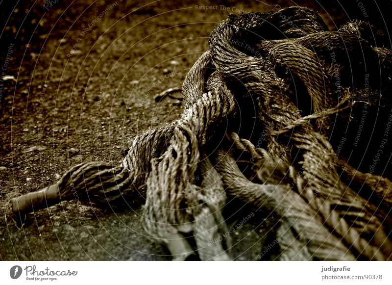 entanglements Rope Thread Plaited Integration Broken Maritime Black & white photo Transience Industry Old Blue enmeshed End Watercraft Feasts & Celebrations