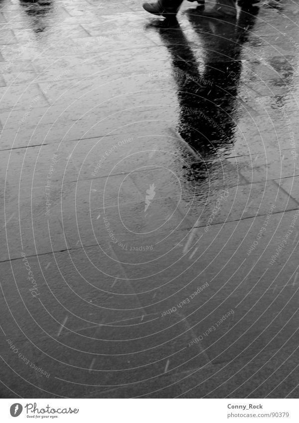 Hallenser Plate Mirror Reflection Granite Damp Gray Gloomy Black & white photo Traffic infrastructure Snow Rain Warehouse Markets Shadow Prefab construction