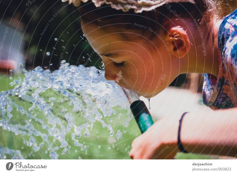 Human being Child White Water Summer Girl Joy Feminine Healthy Garden Head Park Infancy Drinking water To enjoy Mouth