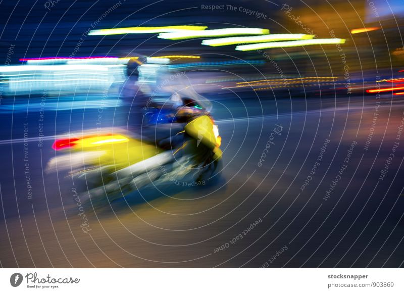 Scooter Vehicle Blur Movement Transport Speed Rome Italy Town Light Street bike Abstract City life riding swift Yellow