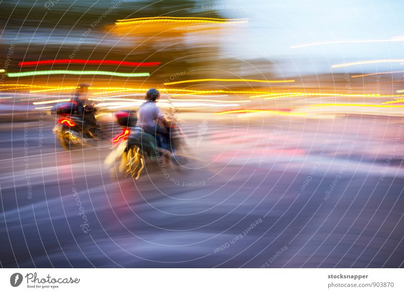 Scooters Vehicle Blur Movement Transport Speed Rome Italy Town Light Street bike Abstract City life riding swift Human being Rider Driving