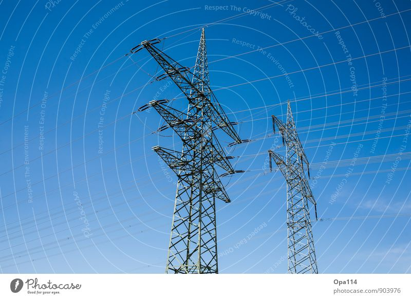 "Big Brothers Environment Nature Sky Cloudless sky Summer Climate Weather Beautiful weather Metal Gigantic Blue ""Power pole stream Cable peril Height Electricity"