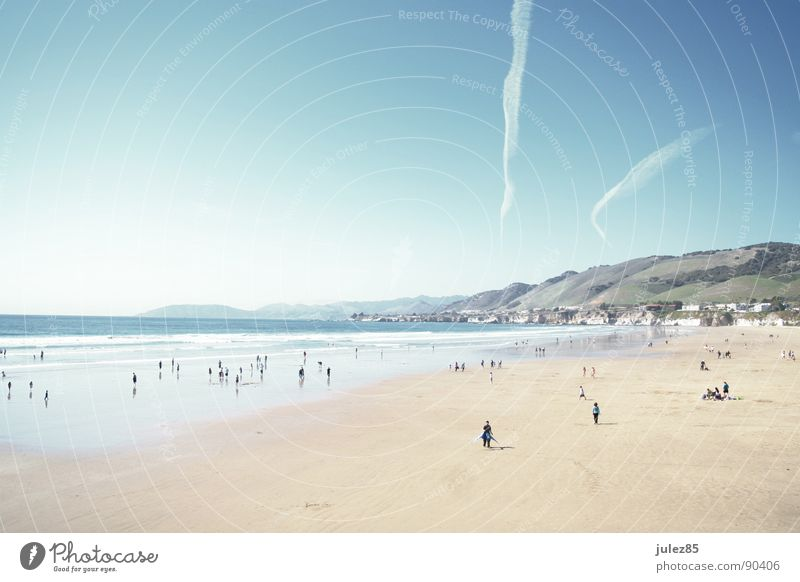 Human being White Sun Ocean Blue Beach Bright Coast Airplane USA Flashy March West Coast