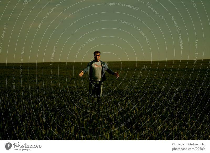 Man Sky Green Blue Meadow Grass Field Horizon Jeans