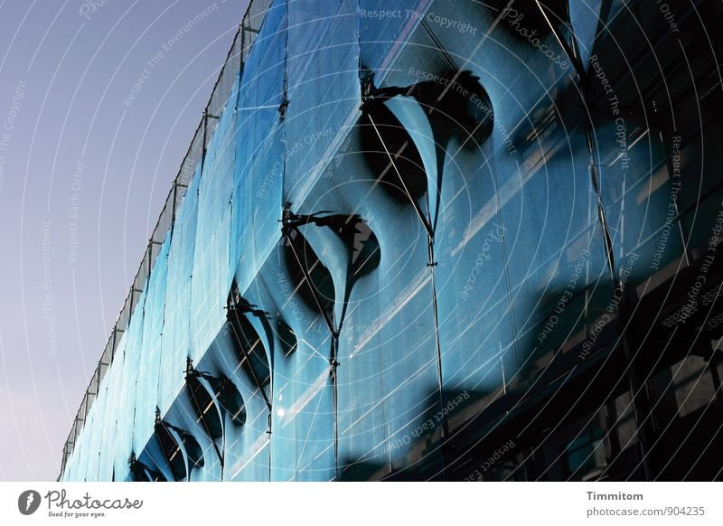 cloaked. Downtown House (Residential Structure) Facade Scaffold Net Shadow Oil Esthetic Blue Black Arrangement Colour photo Exterior shot Deserted Day Light