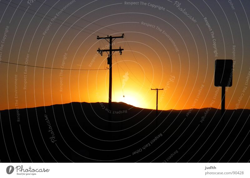 Sunset Boulevard Violet Red Yellow Multicoloured Electricity Electricity pylon Americas Night Dark Horizon Black Sky Transience Romance USA Peace