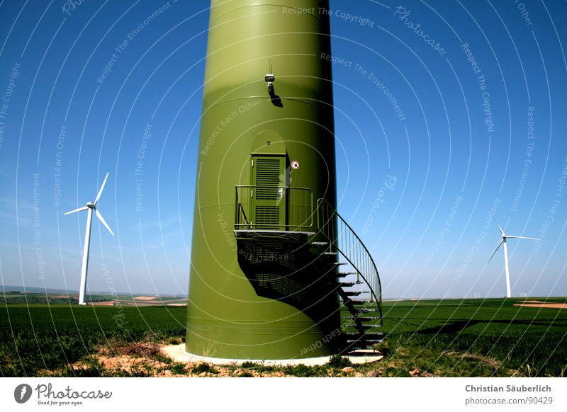 big brother Entrance Lamp Concrete Pedestal Field Meadow Green Front door Winding staircase Industry Wind energy plant Stairs Tower concrete base Blue
