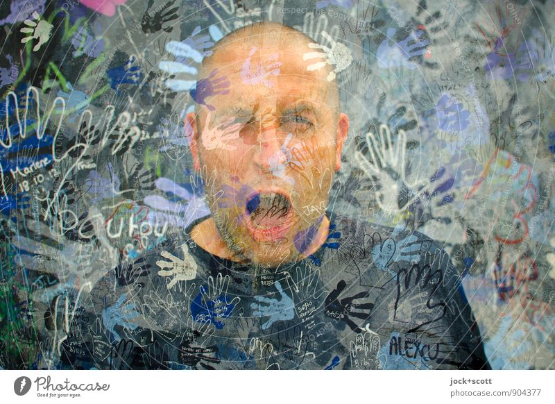 Scream, free your mind! Man Adults Face Hand Crowd of people 30 - 45 years Street art Friedrichshain The Wall Bald or shaved head Word Exceptional Threat Many