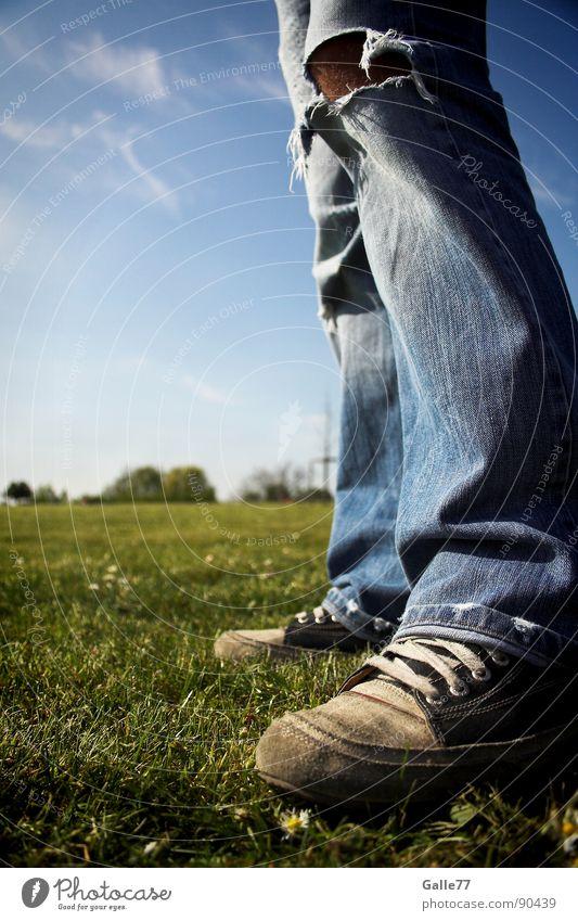 Summer Meadow Feet Footwear Free Horizon Perspective Jeans Stand Broken Chucks Clothing Unwavering Sneakers
